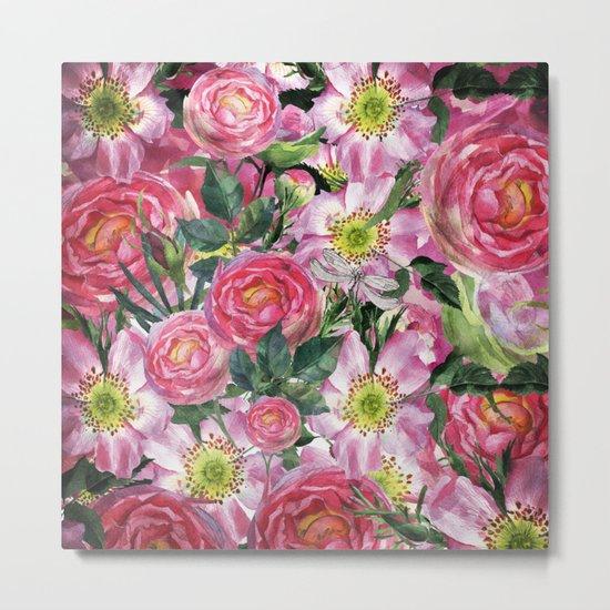 Vintage & Shabby-chic - floral dog roses flowers rose flower Metal Print