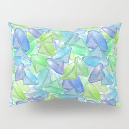 Placer precious stones, yellow , green , blue . Pillow Sham