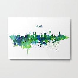 Munich Skyline Silhouette Metal Print