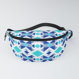 Morrocan blue tiles with marble texture Fanny Pack