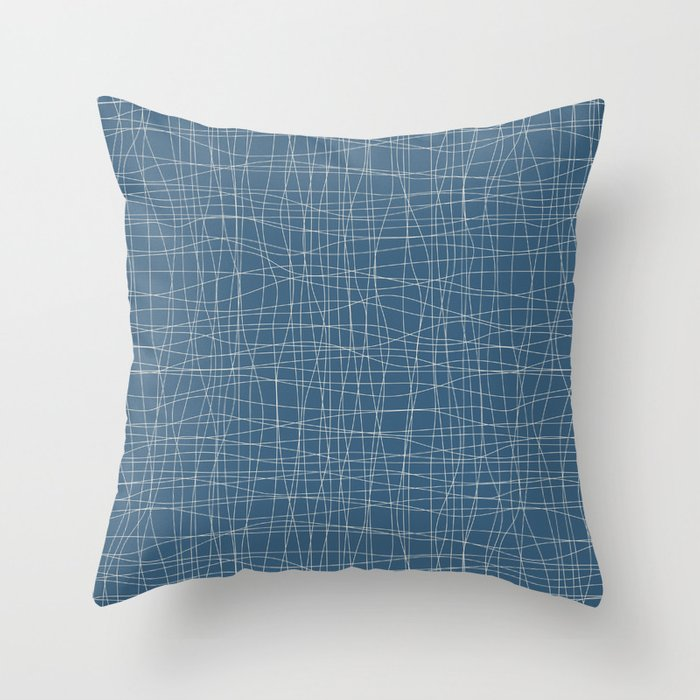 Linen White Hand Drawn Abstract Mosaic Pattern on Blue - 2020 Color of the Year Chinese Porcelain Throw Pillow