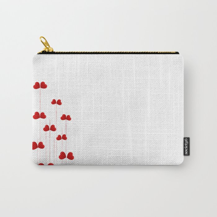 background of red hearts on stalks isolated on white background Carry-All Pouch