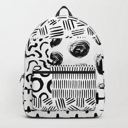 Modern black white hand drawn watercolor geometrical Backpack