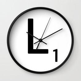 Letter L - Custom Scrabble Letter Tile Art - Scrabble L Initial Wall Clock