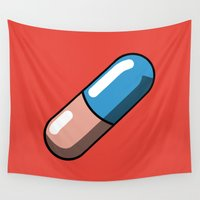 akira Wall Tapestries featuring Akira Pill by Studio Momo╰༼ ಠ益ಠ ༽