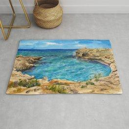 Watercolor sea of Cyprus Rug