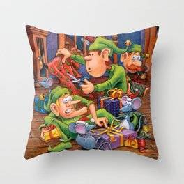 The Elves and Their Little Helpers Throw Pillow