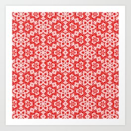 Red Pink and White Mini Mandala Abstract Flowing Floral Dotted Spirit Organic Art Print