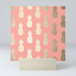Gold Pineapples on Coral Pink Mini Art Print