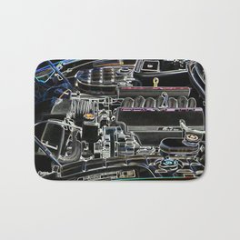 The Image Of A Car Engine Compartment Bath Mat