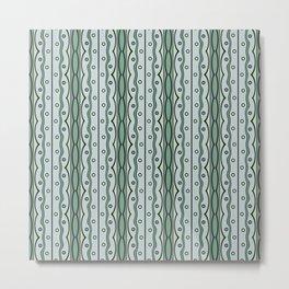 Retro mod pattern in green Metal Print