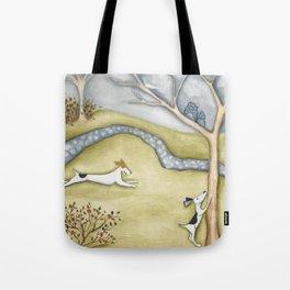 Dog squirrel landscape painting GET IT! original art Tote Bag