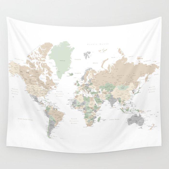 "World map with cities, ""Anouk"" Wandbehang"