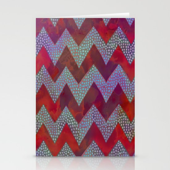 Little Squares Chevron - Red Stationery Cards