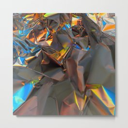 Orange and blue abstract aluminum foil pattern Metal Print