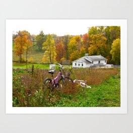 Pink Bicycle and Amish School Art Print
