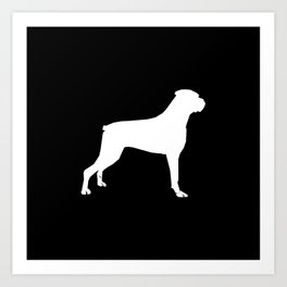 Boxer dog breed pattern dog gifts black and white minimal dog silhouette Art Print