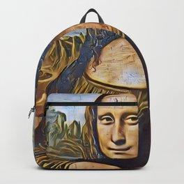 Mona Lisa Gioconda Artistic Illustration Gold Wires Style Backpack