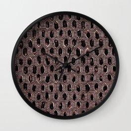 Watercolour Blackwork: 'Lozenge' Burnt Rose 1 (dark) Wall Clock