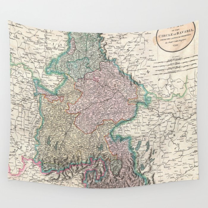 Vintage Map Of Bavaria Germany 1799 Wall Tapestry By Bravuramedia