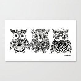 Zentangle Triptych Owl Fineliner Pen Drawing Canvas Print
