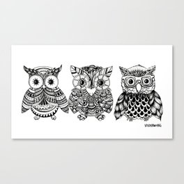 Zentangle Triptych Owl Fineliner Pen Drawing Canvas Print