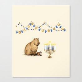 Capy Hanukkah - Capybara and Menorah Canvas Print