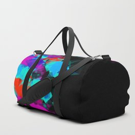 geometric triangle abstract pattern in pink blue red with black background Duffle Bag