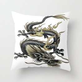 Lucky Chinese Dragon In Grey and Gold Throw Pillow