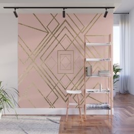 Modern coral faux leather faux gold geometrical pattern Wall Mural