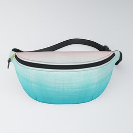 Grunge Pastel Millennial Pink Aqua Blue Teal Mint Linen Pattern Ombre Gradient Texture Fanny Pack