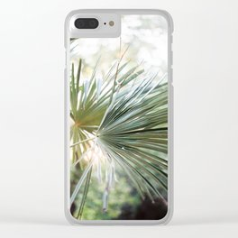Palm tree in golden hour | Ethereal colors, close up | Wanderlust botanical print Clear iPhone Case