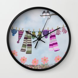 winter's over clothesline with juncos Wall Clock