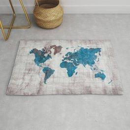 world map 96 blue #worldmap #map Rug