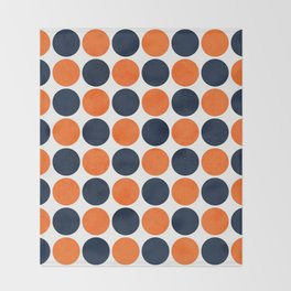navy and orange dots Throw Blanket