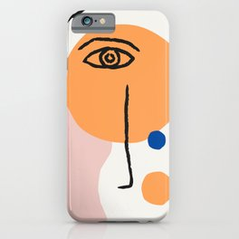 Feminist Line Drawing – Face Illustration | Blue and Nude | Modern Wall Art | Leaf Print | Feminist iPhone Case
