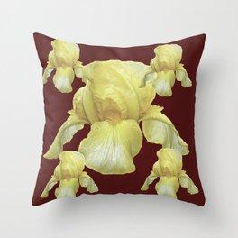 PALE YELLOW IRIS ON BURGUNDY COLOR Throw Pillow