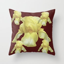 PALE YELLOW IRIS ON BURGUNDY COLOR Throw Pillow