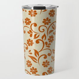 """Orange Flowers & Natural Texture"" Travel Mug"