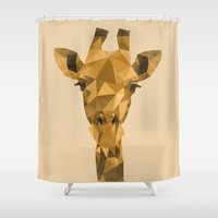 low poly Shower Curtains featuring Distressed Low Poly Giraffe by Inked Designs Shop