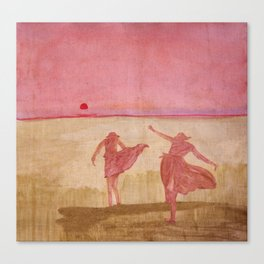 playing at sunset Canvas Print