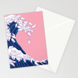 Llama Waves in Pink Stationery Cards