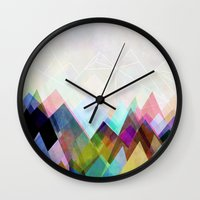 mountain Wall Clocks featuring Graphic 104 by Mareike Böhmer
