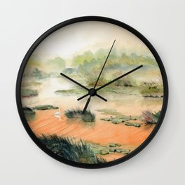 Egret On The Marsh Wall Clock