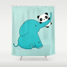 Kawaii Cute Panda and Elephant Shower Curtain