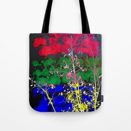 tree branch with leaf and painting texture abstract background in red green blue pink yellow Tote Bag