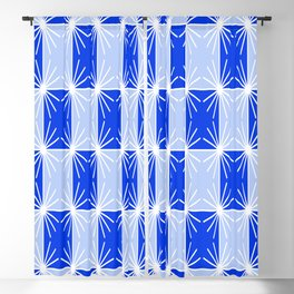 Abstract geometric pattern - blue and white. Blackout Curtain