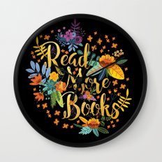 Read More Books - Black Floral Gold Wall Clock
