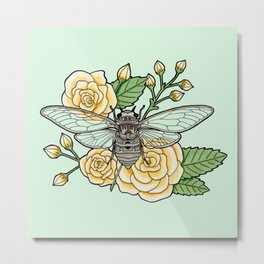 Cicada with Roses - Mint Metal Print