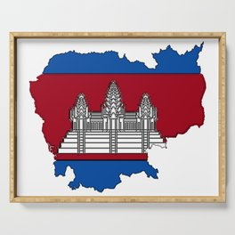 Cambodia Map with Cambodian Flag Serving Tray
